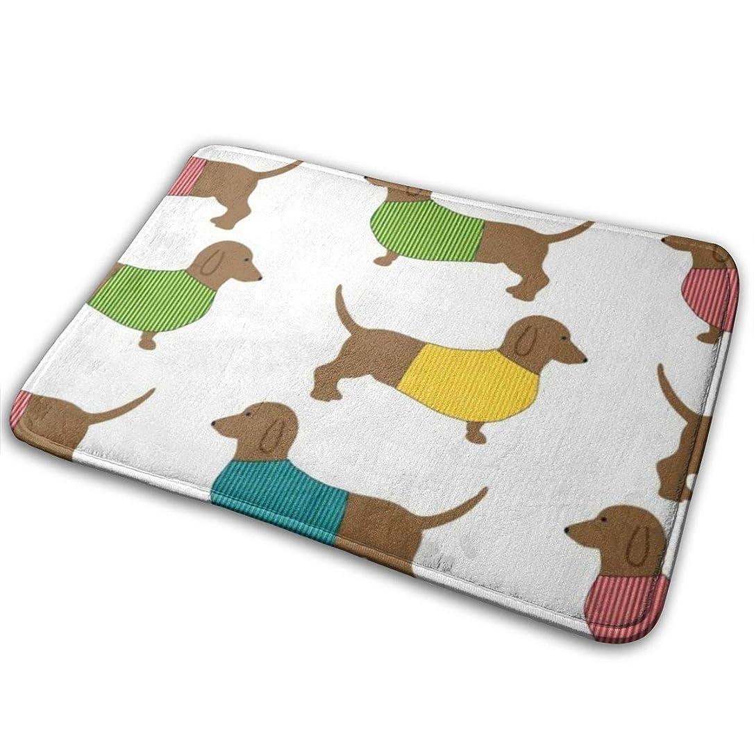 保守的薄いです高めるダックスフント犬かわいい自然玄関マット玄関マット床マット敷物屋内/屋外/玄関/バスルームマットラバーノンスリップ23.6 x 15.8インチ