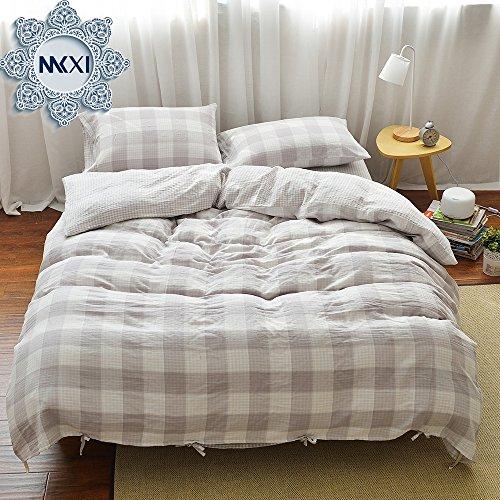 MKXI Geometric Pattern Beige Grey Grid Plaid Modern Bedding Sets Soft Duvet/Comforter Cover King