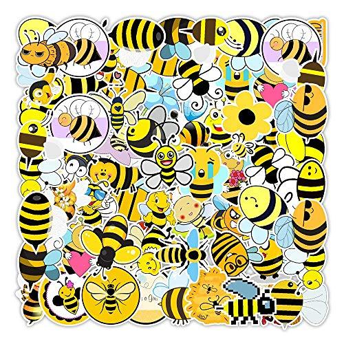 ZIWEI Pegatinas de abeja lindas dibujos animados amarillas pequeñas abeja pegatinas para el ordenador portátil monopatín guitarra DIY nevera coche botella calcomanías niños juguete 50 unids