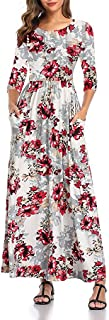 Sponsored Ad - SHELY Women's Floral Print Maxi Dresses 3/4 Sleeve Casual Long Dress