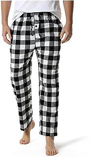 Men's Loose Sleep Bottoms Plaid Flannel Pants Bottoms Casual Pants Sleepwear Underwear XXL