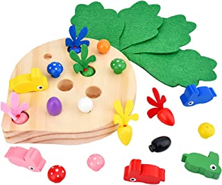 TOYANDONA Wooden Matching Puzzle Catching and Feeding Game Mushroom Harvesting Early Childhood Educational Wooden Toy for ...