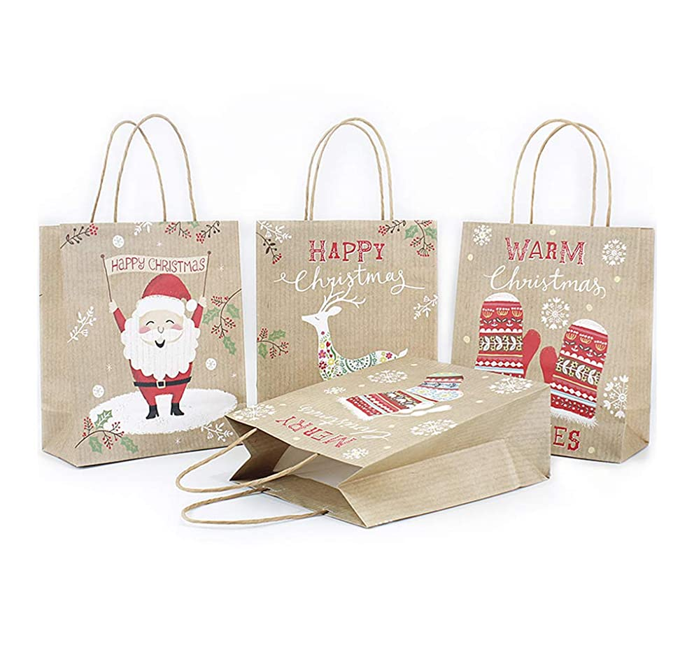 Christmas Kraft Paper Gift Bags, Fashionclubs 12 Pack Party Favor Gift Bags with Handles, 4 Assorted Designs Shopping Bags Christmas Holiday Treat Bags Wrapping Goodies Bags, 10