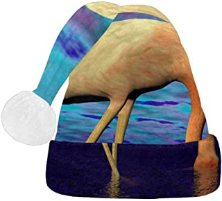 White and Pink Flamingo with Head Into Water Santa Claus Hat, Christmas Party Supplies Hat for Adults