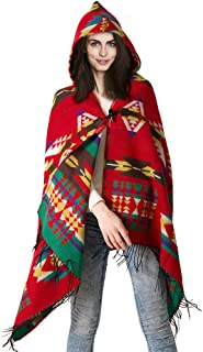BicycleStore Women's Shawl, Shawl Hooded Cape Knit Wrap Poncho Horn Button Cardigan Retro Ethnic Pattern Scarf with Tassel...