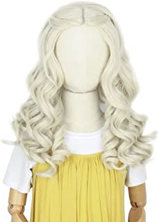 White Queen Princess Wig Kids - Long Curly Platinum Blonde Child Halloween Costume Cosplay Wig