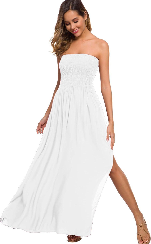 just quella Maxi Dresses for Women Summer Strapless Boho Beach Long Dress