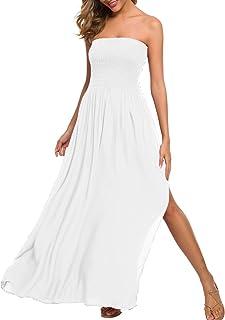 White Long Strapless Dress