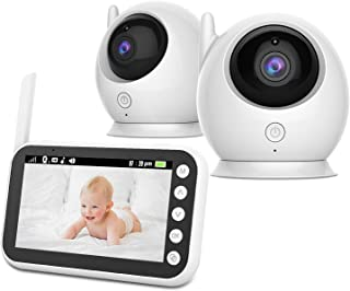 ABM100 Wireless 2 Camera Baby Monitor with 11cm HD LCD Display Screen | Infrared Night Vision Mode | Two Way Intercom | Cr...