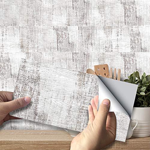3D Pegatinas de Azulejos, Paneles Impermeables Autoadhesivos Calcomanías de Papel de Pared Azulejos Rectangulares para Decoración del Hogar, PVC (Grano de Madera Blanca, 54 piezas)
