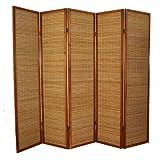 PEGANE Biombo de Madera castaño con bambú de 5 Paneles
