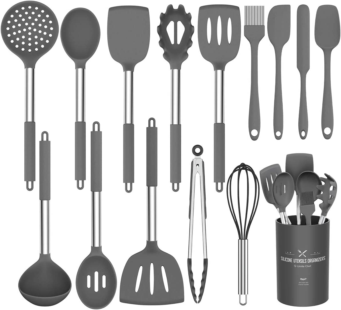 Silicone Cooking Utensil Set, Umite Chef Kitchen Utensils 15pcs Cooking Utensils Set Non-stick Heat Resistant BPA-Free