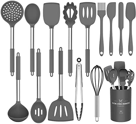 Amazon Com Silicone Cooking Utensil Set Umite Chef Kitchen Utensils 15pcs Cooking Utensils Set Non Stick Heat Resistan Bpa Free Silicone Stainless Steel Handle Cooking Tools Whisk Kitchen Tools Set Grey Kitchen Dining
