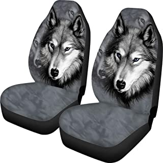 BIGCARJOB Car Seat Protect Covers 2pcs Set Wolf Print Universal fit Front Car Seats for Car Auto Automotive Truck SUV