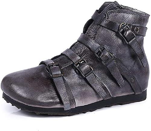 ZHRUI gris Femmes Bottes Boucle zippée Cuir Plat Chaussures à la Main (Couleuré   gris, Taille   EU 40)