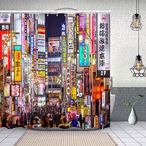 Yoliveya Wasserdichter Duschvorhang,Shinjuku Nacht Tokio 14. März Red Neon Kabukicho Tourist Nightlife Crowed,Drucken von Badvorhängen mit 12 Haken 150x180cm