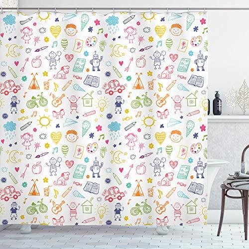ABAKUHAUS Guardería Cortina de Baño, El gráfico Infantil, Material Resistente al Agua Durable Estampa Digital, 175 x 200 cm, Multicolor