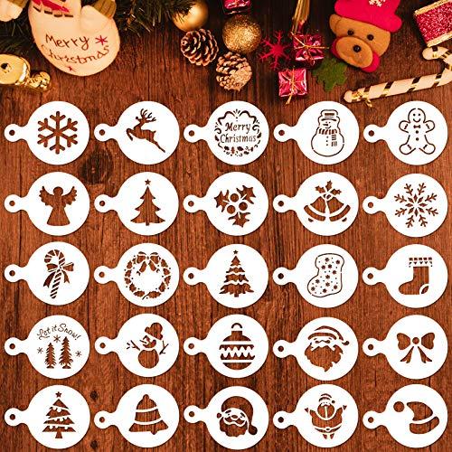 Qpout 25 Plantillas de decoración de café navideño, Molde de Estampado de decoración de café Fondant de Galletas de Fiesta de Navidad, muñeco de Nieve para árbol de Navidad de Santa Claus