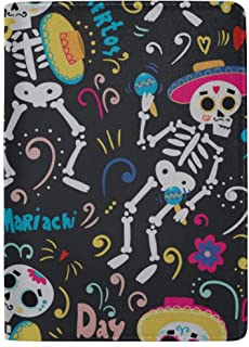 Holiday Candy Skull Basket Blocking Print Passport Holder Cover Case Travel Luggage Passport Wallet Card Holder Made with Leather for Men Women Kids Family