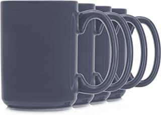 Serami Steel Blue Colored Ceramic Classic Coffee Mugs Large Handles with 15oz Capacity, Set of 4