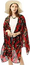 GERINLY Kimono Cardigan for Women Flowers Summer Kimono Top Beach Sundress Shawl