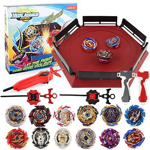 Bey Battling Top Burst Launcher Grip Toy Blade Set Game with 1 Battling Top Stadium 12 Spinning Top Burst Gyros 3 Launchers Great Birthday for Boys Children Kids