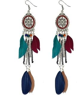 Vintage Retro Boho Ethnic Chain Tassel Dangle Earrings Feather Fringe Drop Long Earrings