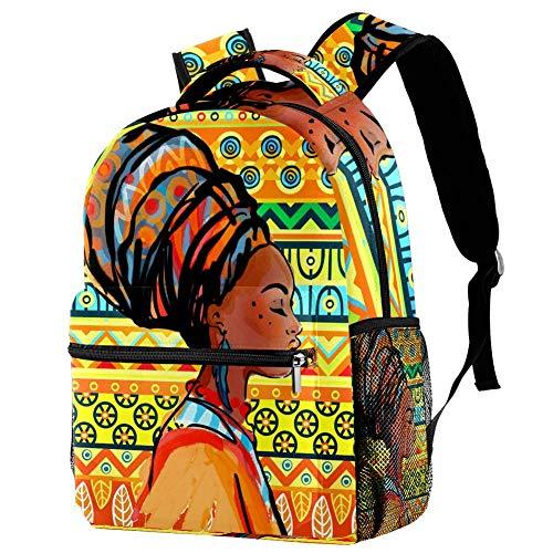 African Woman Ethnic Style Pattern School Backpack Teens Girls Boys Schoolbag Lightweight Travel Daypack