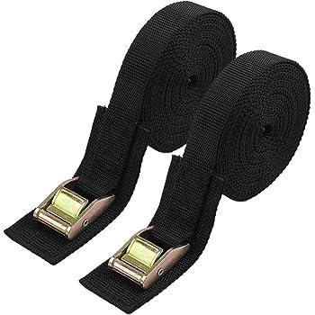 "8 feet Long Lashing Strap Cargo Lash Strap 2 straps Black with 1/"" SR Buckle"