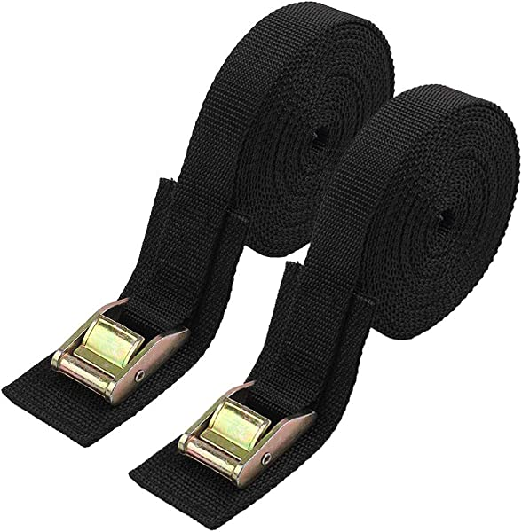Lashing Strap Sturdy 16 Foot By 1 Inch Tie Down Strap Cargo Tie Down Strap Thickened Cam Lock Buckle 2 Pack Black