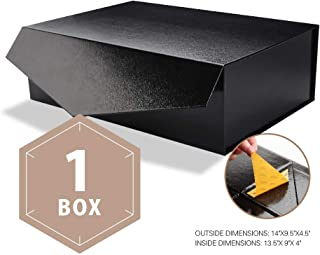 PACKHOME Large Gift Box Rectangular 14x9.5x4.5 Inches, Bridesmaid Proposal Box, Sturdy Storage Box, Collapsible Gift Box with Magnetic Closure (Glossy Black with Embossing, 1 Box)
