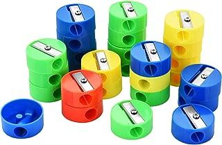 Oyfel Pencil Sharpener Manual Plastic Double Hole for Children Kids School Student Stationery Supplies Random Color Mini Cute Cartoon Smile
