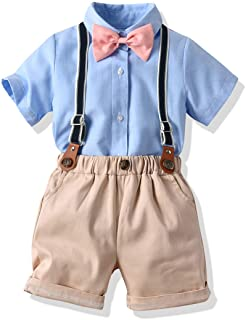 Baby Boys Formal Set Little Boys Gentleman Outfit Suits, Short Shirt+Short Pants Set+Suspender+Bow Tie 4Pcs