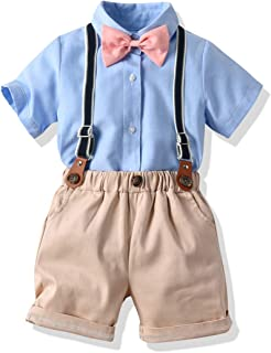 Baby Boys Gentleman Outfit Suits,Little Boys Short Pants Set,Short Shirt+Colorful Suspender Pants+Bow Tie 4Pcs