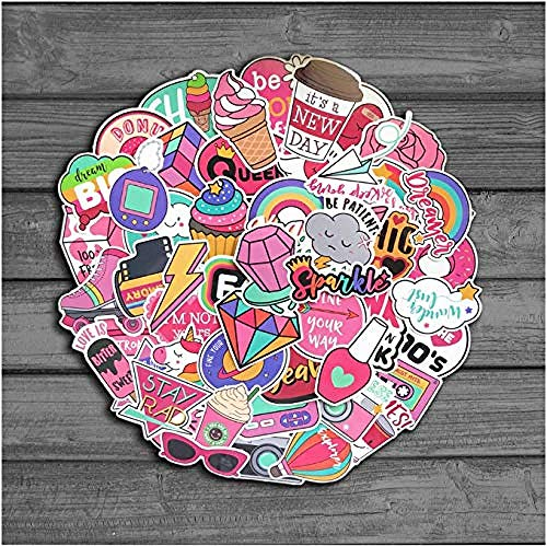 60 stuks/verpakking PVC waterdicht roze meisjes plezier sticker speelgoed bagagesticker voor motorfiets auto en koffer stickers voor laptop
