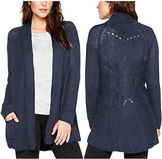 Women's Wool Blend Crochet Open Front Cardigan Sweater