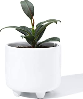 POTEY 051701 Plant Pot with Drainage Hole - 5.3 Inch Glazed Ceramic Modern Planters Indoor Bonsai Container for Plants Flower Aloe(Shiny White, Plants Not Included)