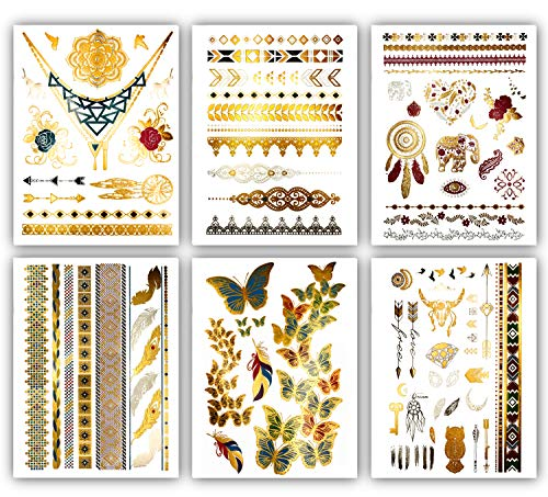 Boho Color Metallic Temporary Tattoos - Over 75 Gold Silver Bright Colored Designs (6 Sheets) Terra Tattoos Kendra Collection