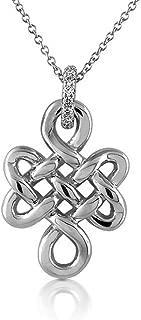 0.08CT Diamond 14K White Gold Buddhist Spiritual Eternal Endless Love Knot Religious Jewelry Pendant Necklace