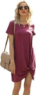 Women's Short Sleeve Dress Side Knot Dress Casual Twist Knot Tshirt Round Neck Dress