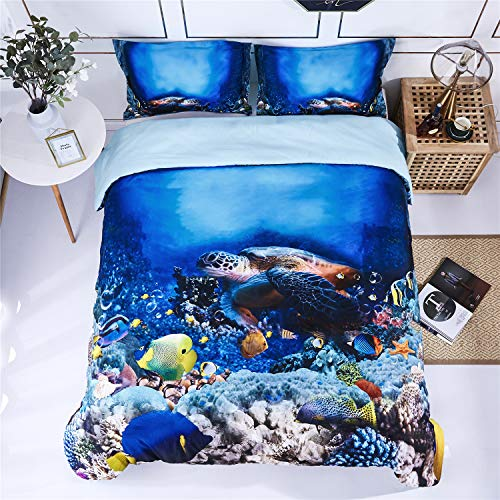 HIG 3D Bedding Set 3 Piece Queen Size Turtle in Sea Print Duvet Cover with Two Matching Pillow Covers -Super Soft Duvet Cover -General for Men and Women Especially for Children (P30,Queen)