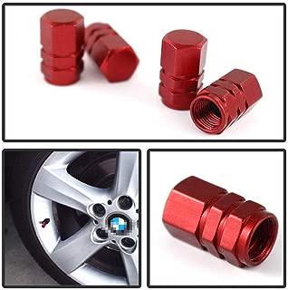 iJDMTOY (4) Tuner Racing Style Red Aluminum Tire Valve Caps (Hexagon Shape)