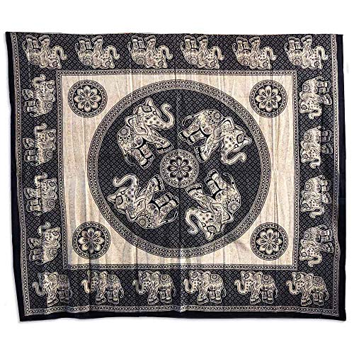 Copritutto Grande Elefanti Sabbiato 100% Cotone Telo Mare Copri Divano Arazzo Decorativo 210x240 cm