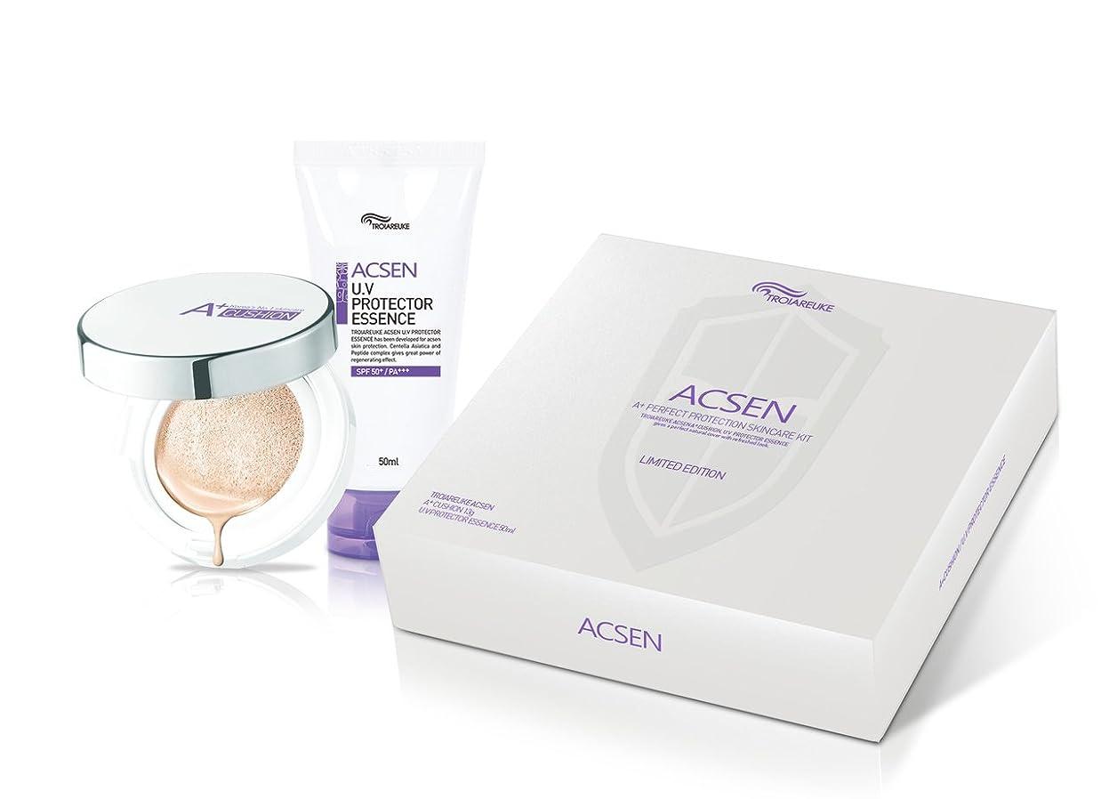 臭い増加するクラックTROIAREUKE(トロイアルケ) アクセン スキンケア キット/クッション+日焼け止め 2点セット/Acsen Skincare Kit/Cushion+Sun Essence [並行輸入品]