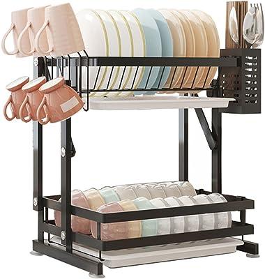 Escurridor de platos, plegable de 2 niveles con soporte para utensilios, soporte para tazas y escurridor de platos, gran capacidad, acero inoxidable 201 (negro)