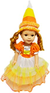 Brittany's My Candy Corn Halloween Witch Costume Compatible with Glitter Girl Dolls , Hearts 4 Hearts Dolls and Wellie Wishers