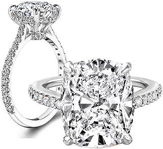 e5e354d25 Erllo 6 Carat Clear Cushion Cut CZ Cubic Zirconia Solitaire Wedding  Engagement Ring 925 Sterling Silver