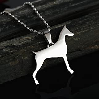 Stainless Steel Cropped Ear Doberman Dobie Pinscher Dog Silhouette Pet Dog Tag Breed Collar Charm Pendant Necklace