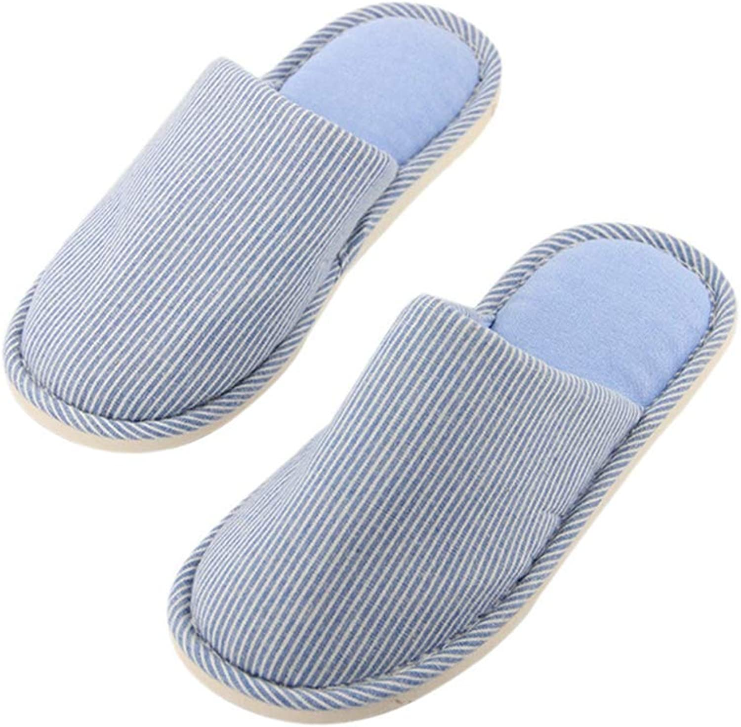 ASO-SLING Women's Home Slippers Warm Cotton Anti-Slip Striped Flip Flops Indoor Fur Lined House shoes