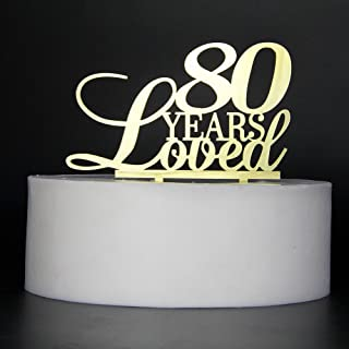 LOVELY BITON Gold 80 Years Loved Cake Topper Shining Numbers Letters for Wedding, Birthday, Anniversary, Party.